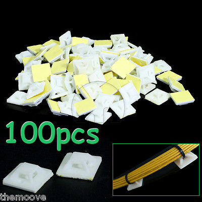 100 Pcs Self-Adhesive Square Cable wire zip Tie Mount Base clamps 20 x 20mm AU