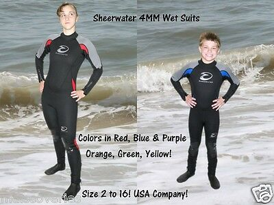 SHEERWATER Full Body 4MM Wet suit child/youth in 6 colors! Sizes 2 to 16
