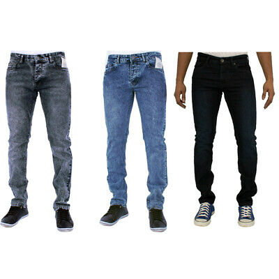Mens Enzo Skinny Slim Fit Jeans Acid Wash Smart Casual Denim Pants Work Trousers