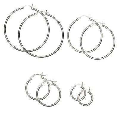 Stainless Steel Plain 2mm Thin Polished Round Hoop Earrings - CHOOSE A SIZE