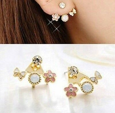 1 Pair New Fashion Women Lady Elegant Crystal Rhinestone Ear Stud Earrings