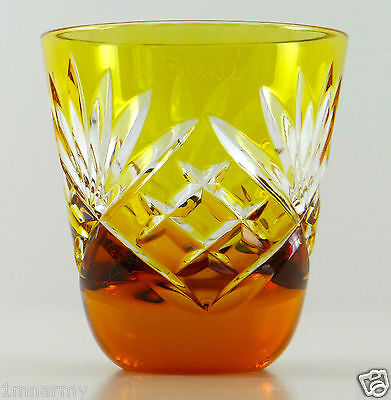 FABERGE Na Zdorovye VODKA SHOT GLASS GOLD YELLOW CASED CLEAR CRYSTAL NEW!