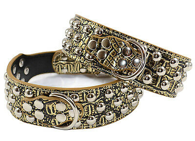 New Dog Leather Collar Nickel Plated Mushroom Studded Adjustable Gold Brown-M L
