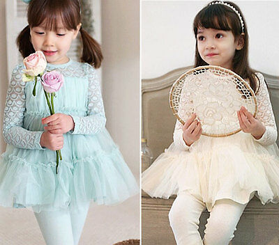 Hot Design Kids Sweet Clothing Hollow Out Lace Skirt Girls Princess Dress Sz2-7Y