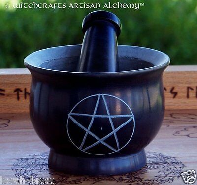 """PENTACLE Black Soapstone Mortar & Pestle 4"""" Diameter - Witchcraft Wicca Pagan"""