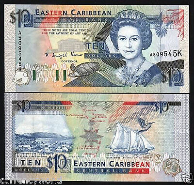 East Caribbean States $10 P27d 1993 Queen Turtle UNC Dominica Money Free Ship