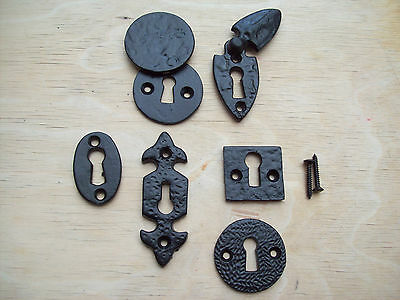 Black Antique Cast Iron Keyhole Key Hole Covers Escutcheons