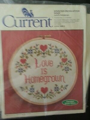 Current Counted Cross Stitch Needlepoint Hoop Kit Love is Homegrown Vintage 1984