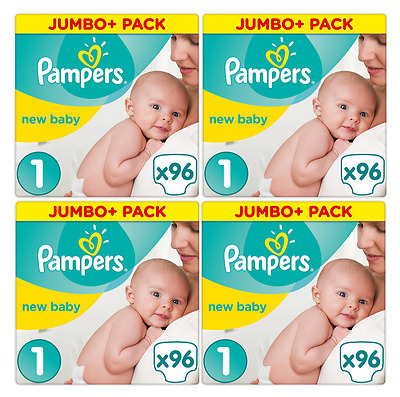 288 couches Pampers New Baby - New Born - Taille 1 (2/5 Kgs)  4 x Paquets Jumbo