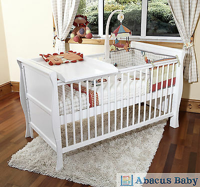 New Baby White Scarlett Sleigh Cot Bed - Cotbed Foam Mattress - Cot Top Changer