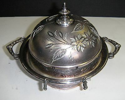 Antique 1883 Silverplated Butter Dish Footed Quadruple S.1225 W/ Floral Design