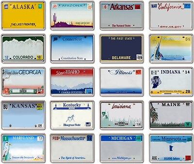FRIDGE MAGNET - *CUSTOM* License Plates - YOUR TEXT !!  American A-M licence
