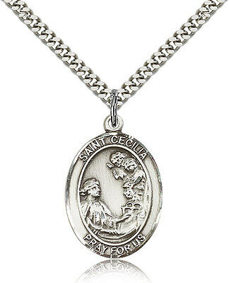 "Saint Cecilia Medal For Men - .925 Sterling Silver Necklace On 24"" Chain - 30..."