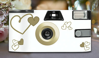 12 x Gold Heart Disposable Wedding Cameras 27exp, flash & matching table cards