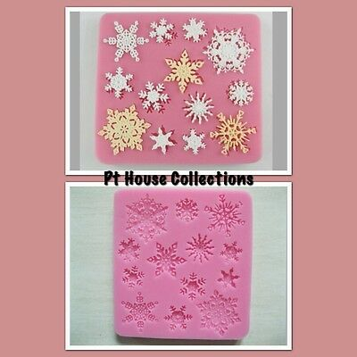 Silicone Snowflake 3D Fondant Mould Eco-friendly  With 13 Molds. Frozen Parties