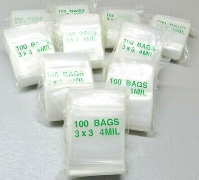 """1000 Ziplock Bags 4 Mil 3""""x3"""" Clear Poly Reclosable 3x3 Thick Square Bag 4mil"""