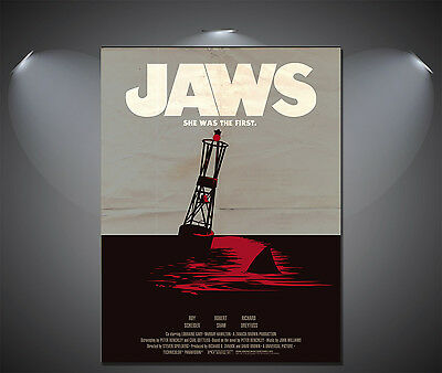 JAWS Movie Large Vintage Art Deco Poster - A0, A1, A2, A3, A4