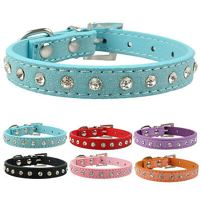 Clear Rhinestone Suede Leather Puppy  Dog Cat Collars for Small Breeds XXS/XS/S