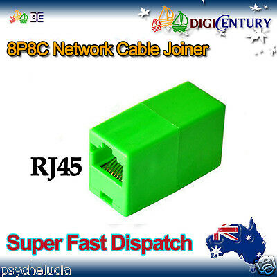 Green RJ45 8P8C Network Cable Joiner Plug Coupler Extender Connector Adapters
