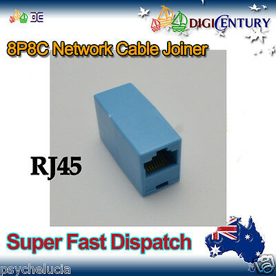 Blue RJ45 8P8C Network Cable Joiner Plug Coupler Extender Connector Adapters
