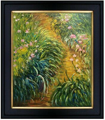 Framed Hand Painted Oil Painting, Claude Monet Irises Repro. 20x24in