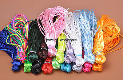 Wholesale 10m/50m Nylon Chinese Knot Satin Beading Jewelry Rattail Cords 2mm