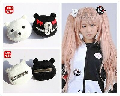 Dangan Ronpa Danganronpa Junko Enoshima Cosplay Black & White Bear Hair Clip Pin