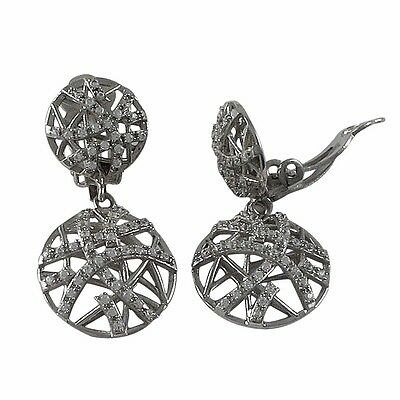 Rhodium Plated Sterling Silver Crisscross Circle Womens CZ Clip On Earrings