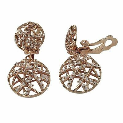 Rose Plated Sterling Silver Crisscross Circle Womens CZ Clip On Earrings