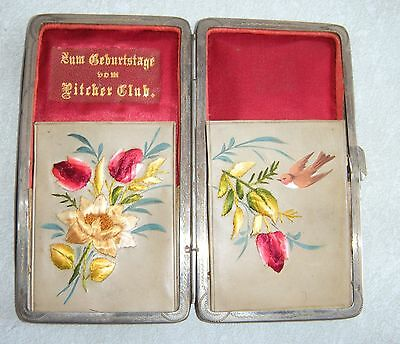 Rare Vintage A. Frohnhauser Leather Cigarette Case W/ Flower & Bird Embroidery