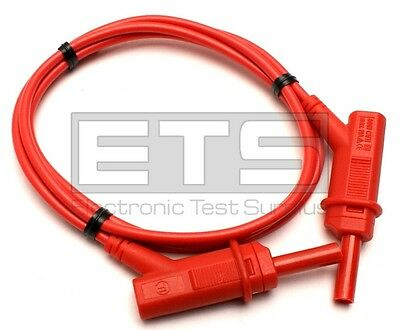 Test Lead Red Stackable Retractable Sheathed  4mm Banana Plugs 600V CATII 19Amp