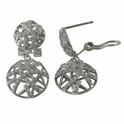 Rhodium Plated Sterling Silver Crisscross Circle CZ Womens Dangle Earrings