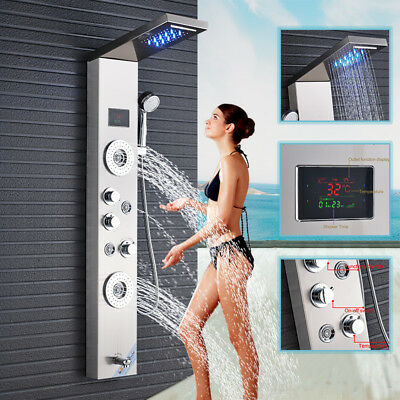 60'' Black Shower Panel Tower Rain Waterfall With Massage Jets Body Tap Mixer