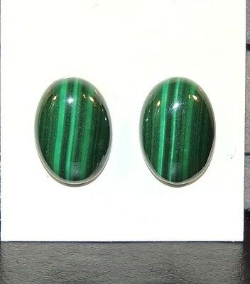 Malachite 13x18mm Cabochons Set of 2 from Africa (7456)