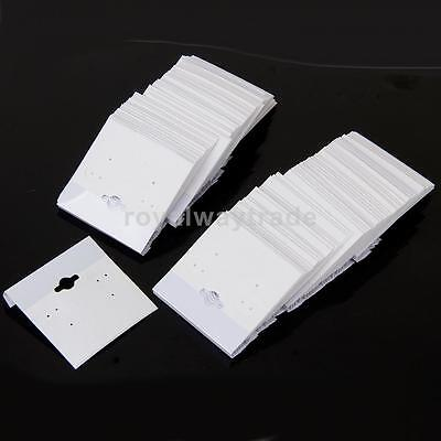 100pcs Earring Display Hang Cards Flocked Velvet Jewelry Stand White 2 x 2''