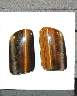 Tiger's Eye 24x15mm Cabochons Set of 2 From Africa (7460)