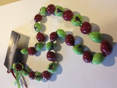 Winery Good Luck 30 Kukui Nuts Lei Necklace with Wine & Glass Logo Beads