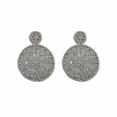 Rhodium Plated Sterling Silver Circle CZ Womens Drop Post Earrings