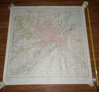 Fantastic, very large colored map of Toledo (1952) Scarce!