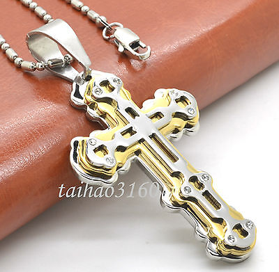 """Unisex Stainless Steel Silver Gold Cross Pendant Necklace 23.6"""" Bead Chain DE72"""