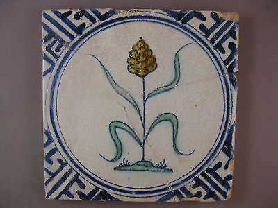 Antique Dutch Delft polychrome Tile Flower in the Circle 17th. -- free shipping