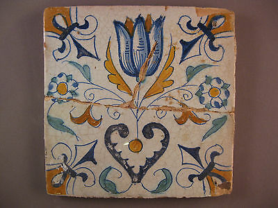 Antique Dutch polychrome Tile Tulip with heart 17th. -- free shipping Nr4