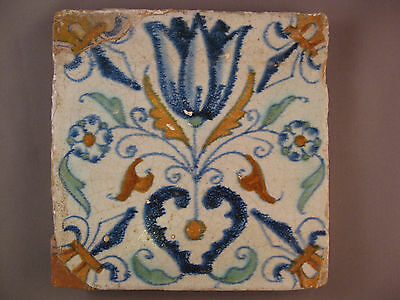Antique Dutch polychrome Tile Tulip with heart 17th. -- free shipping Nr3