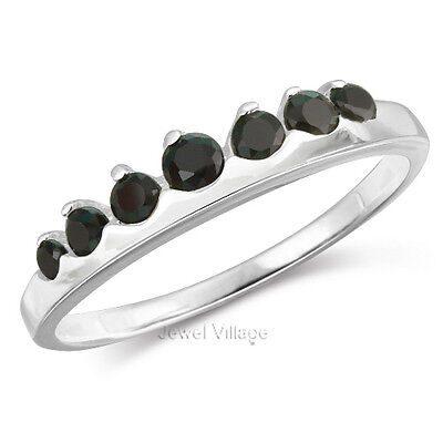Sterling Silver 7-Stone Dazzling Black Onyx CZ Promise Engagement Ring Size 6