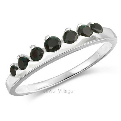 Sterling Silver 7-Stone Dazzling Black Onyx CZ Promise Engagement Ring Size 9
