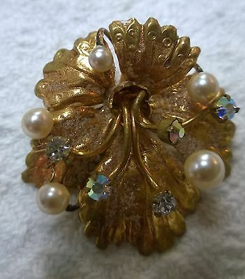 Vintage Pin-Brooch-AUSTRIA-Goldtone Flower-Crystal AB & Pearls-  Signed