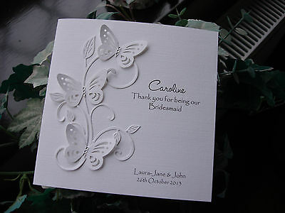 Personalised Handmade Bridesmaid Butterfly Thank You Card