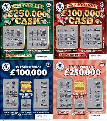 Fake Joke Novelty Lottery Scratch Cards £100,000 + £250,000 Best Prank On Ebay!