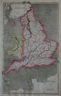 Original 1824 Map ENGLAND & WALES Parliament Member Districts Counties Towns