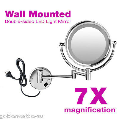 Wall Mounted Dual Side Makeup Mirror Beauty 7x Magnifying Mirror With LED Light
